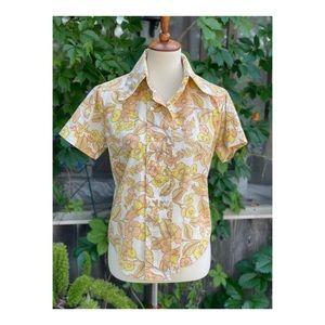 Vintage 70s Groovy Shirt Floral Yellow Orange